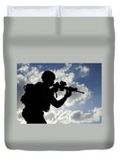Silhouette Of A Soldier Duvet Cover