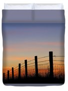 Silhouette Of Barbed Wire Fence Duvet Cover