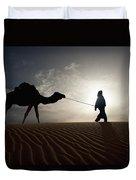 Silhouette Of Berber Leading Camel Duvet Cover
