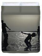 Silhouette Of Boys Fishing Duvet Cover