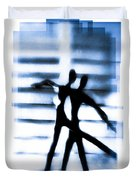 Silhouette Of Dancers Duvet Cover by David Ridley