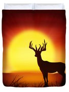 Silhouette Of Deer With Big Sun Duvet Cover