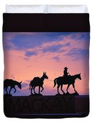 Silhouette Of Donkey Train Statue Duvet Cover