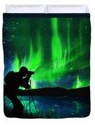 Silhouette Of Photographer Shooting Stars Duvet Cover