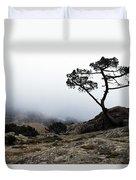 Silhouette Of Tree In Mist Duvet Cover