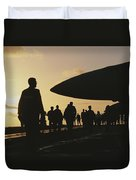 Silhouetted Military Personnel Duvet Cover