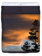 Silhouetted Tree At Sunset Duvet Cover