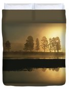 Silhouetted Trees Along The Yellowstone Duvet Cover