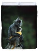 Silvered Leaf Monkey And Baby Duvet Cover