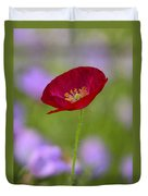 Single Red Poppy  Duvet Cover