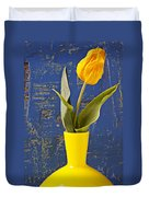 Single Yellow Tulip In Yellow Vase Duvet Cover