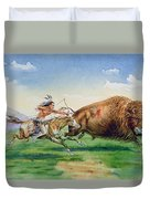 Sioux Hunting Buffalo On Decorated Pony Duvet Cover