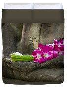 Sitting Buddha In Meditation Position With Fresh Orchid Flowers Duvet Cover