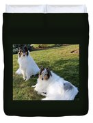 Sitting Pretty Collie Dogs Duvet Cover