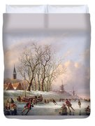 Skaters On A Frozen River Before Windmills Duvet Cover