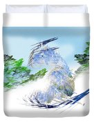 Ski Sledding Blue Polar Bear Duvet Cover