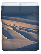 Skier And Crevasse Patterns At Sunset Duvet Cover