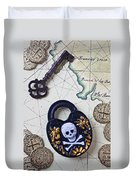 Skull And Cross Bones Lock Duvet Cover
