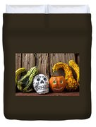 Skull And Jack-o-lantern Duvet Cover