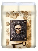 Skull Box With Skeleton Key Duvet Cover