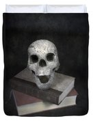 Skull On Books Duvet Cover by Joana Kruse