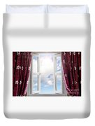 Sky View Through Open Window Duvet Cover