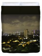 Skyline Of A Part Of Singapore At Night Duvet Cover