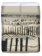 Slats Of Wooden Fence Throwing Shadows Duvet Cover