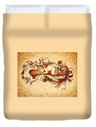 Sleeping Angel Original Coffee Painting Duvet Cover