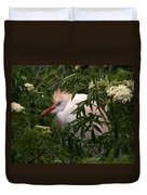 Sleepy Egret In Elderberry Duvet Cover