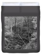 Slovenian Forest In Black And White Duvet Cover