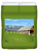 Slovenian Hayrack And Woodpile Duvet Cover