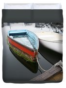 Small Boat In Harbor Duvet Cover