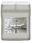 Small Boats At Rhodes Port Duvet Cover