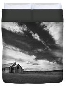 Small Country Church In Grass Field In Duvet Cover