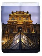 Small Glass Pyramid Outside The Louvre Duvet Cover by Axiom Photographic