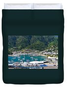 Small Idyllic Yacht Harbor  Duvet Cover