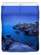 Small Lighthouse And House At Dusk Duvet Cover