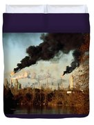 Smoke Billows From The Exxon Oil Duvet Cover