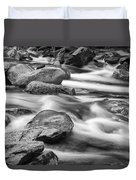 Smokey Mountain Stream Of Flowing Water Over Rocks Duvet Cover