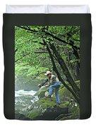 Smoky Mountain Angler Duvet Cover