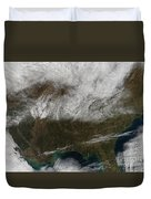 Snow Cover Stretching From Northeastern Duvet Cover by Stocktrek Images