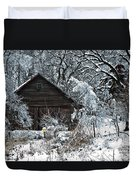 Snow Covered Barn Duvet Cover