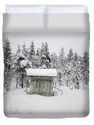 Snow Covered Cabin By Forest Duvet Cover