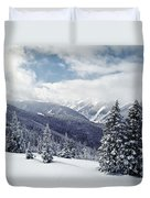 Snow Covered Pine Trees On Mountain Duvet Cover