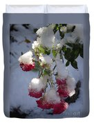 Snow Covered Roses Duvet Cover