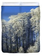 Snow Covered Trees In A Forest, County Duvet Cover