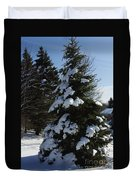 Snow Crusted Evergreen Duvet Cover