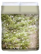 Snow Falling In Front Of Pines Duvet Cover