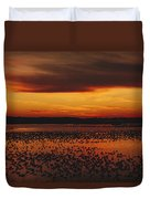Snow Geese Come To Rest In Squaw Creek Duvet Cover